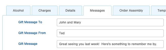 Infoplus Gift Message field on the order table.
